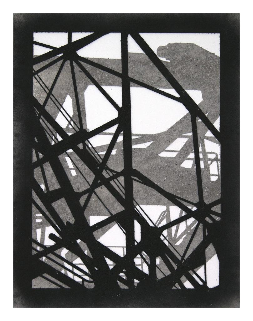 Kohleförderband mit Kran - coal and ash on Mylar – 17.5×13.5 in.
