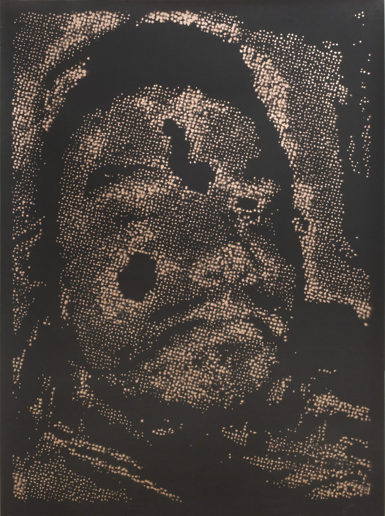 Retrato 08 (cobre) metallic copper enamel on paper 48 1/2 x 36 in.