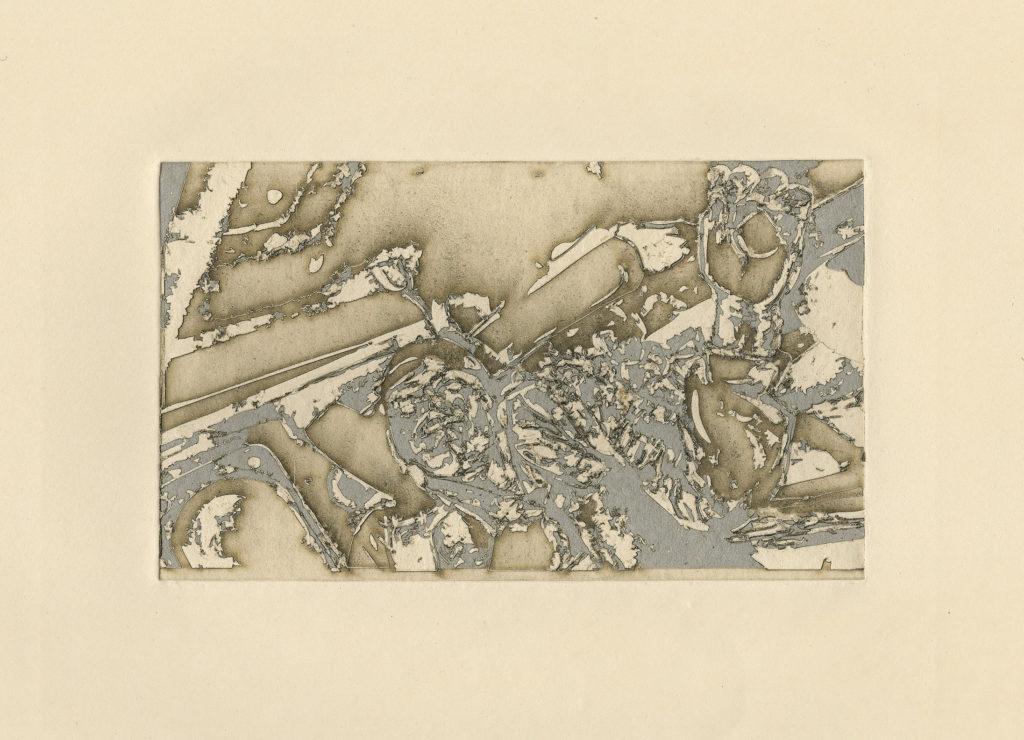 finished print: en la caja de la troca - burnt residue embossing - 11 x 15 in.