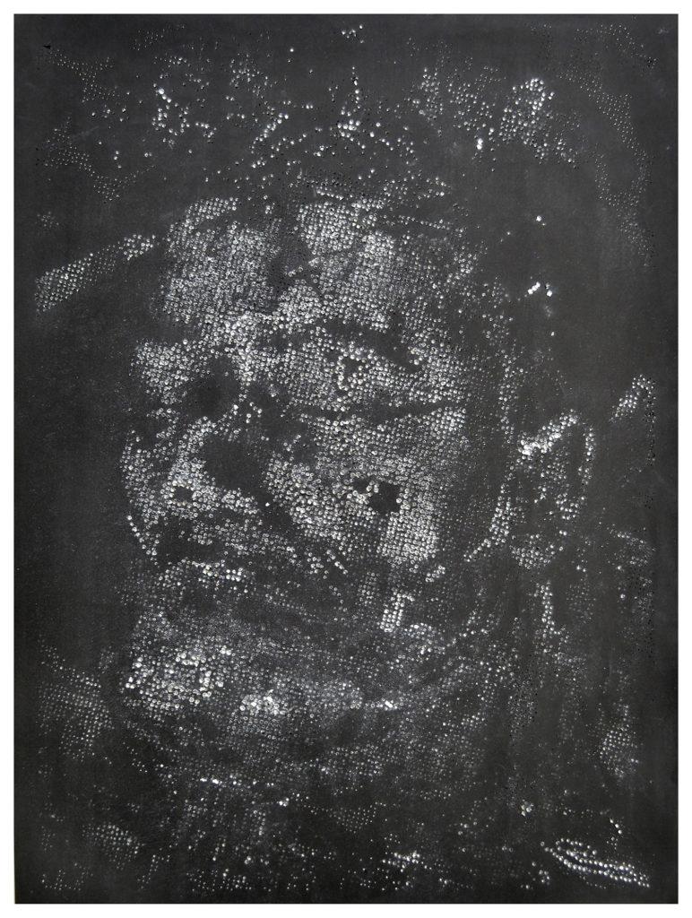 Retrato 18 (negro) hand-drilled paper – 48 1/2 x 36 in.