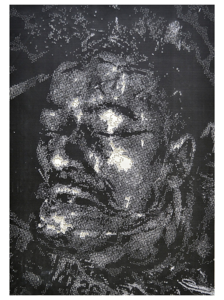 Retrato 18 - hand drilled paper with layered Xerox - 48 1/2 x 36 in.
