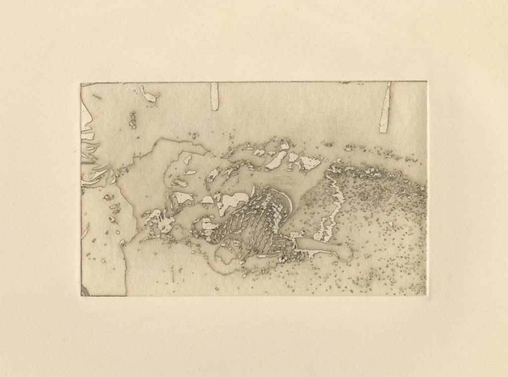 Caída de un miembro mas - burnt residue embossing - 11 x 15 in.