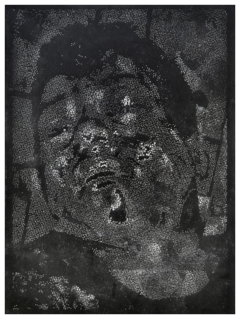 Retrato 20 (negro) hand-drilled paper – 48 1/2 x 36 in.
