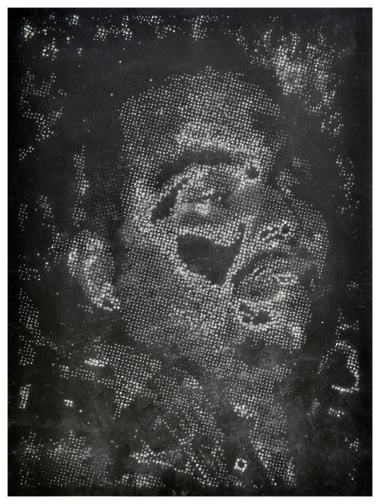 Retrato 21 (negro) hand-drilled paper – 48 1/2 x 36 in.
