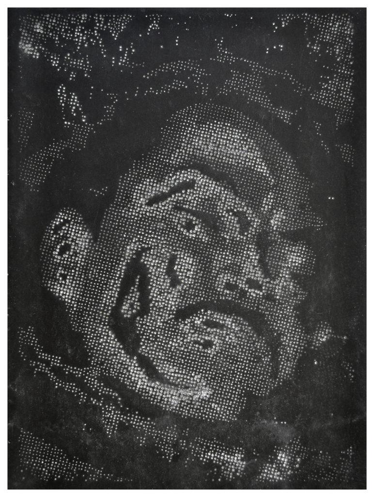 Retrato 23 (negro) hand-drilled paper – 48 1/2 x 36 in.