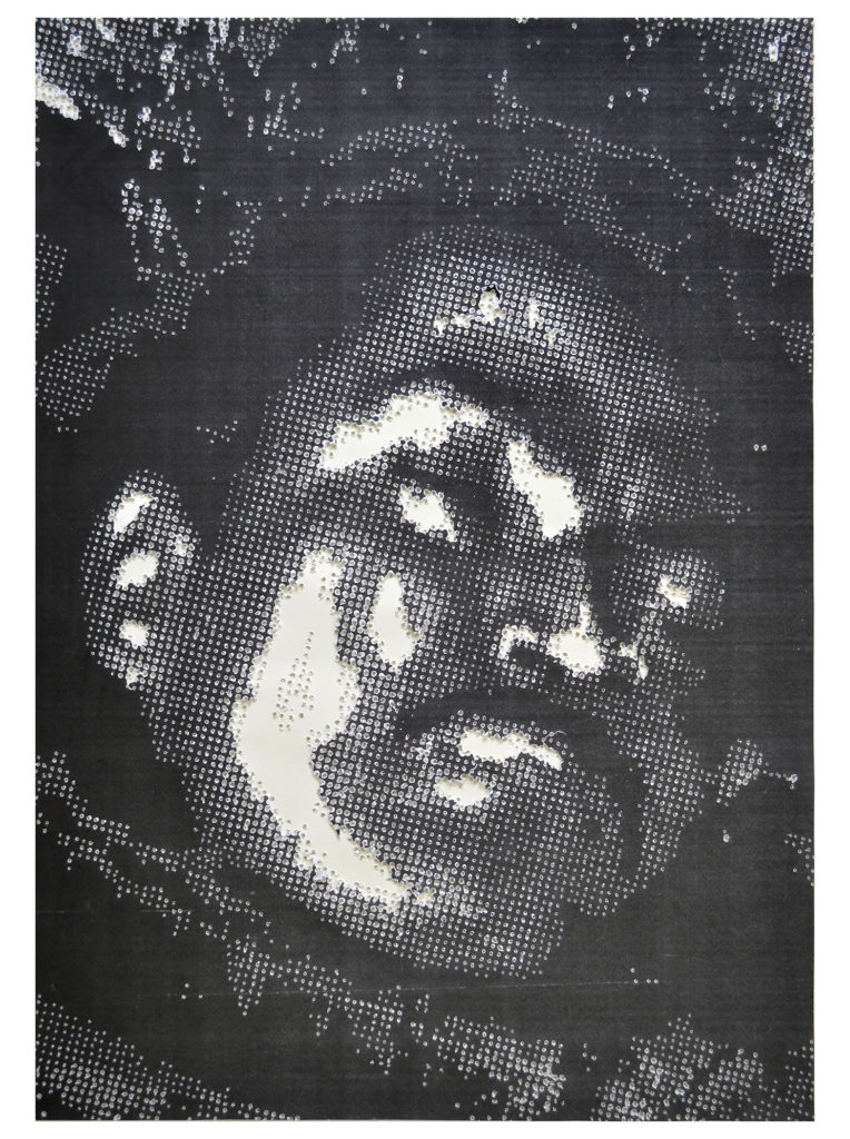 Retrato 23 - hand drilled paper with layered Xerox - 48 1/2 x 36 in.