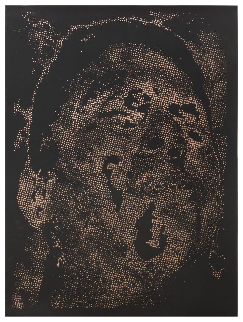 Retrato 24 (cobre) - metallic copper enamel on paper - 48 1/2 x 36 in.