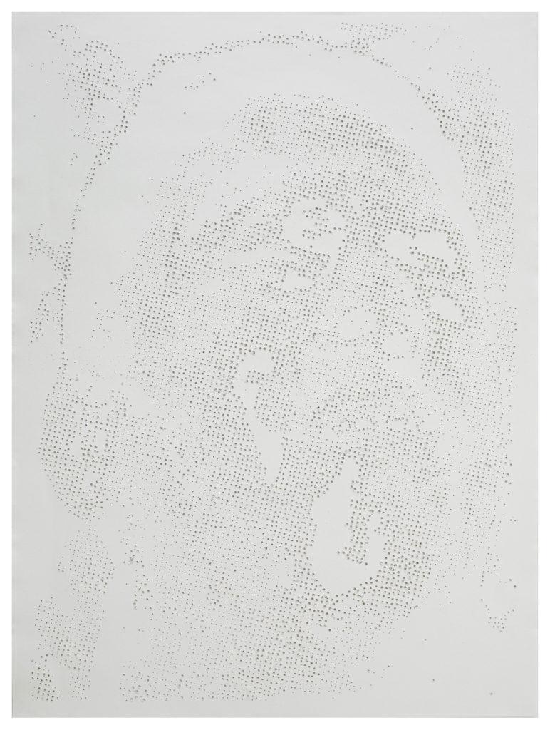 Retrato 24 (blanco) - hand drilled paper - 48 1/2 x 36 in.