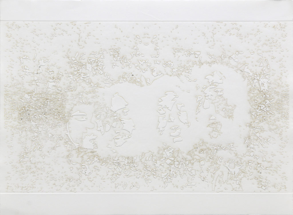 cabezas - burnt residue embossing - 22 x 30 in.