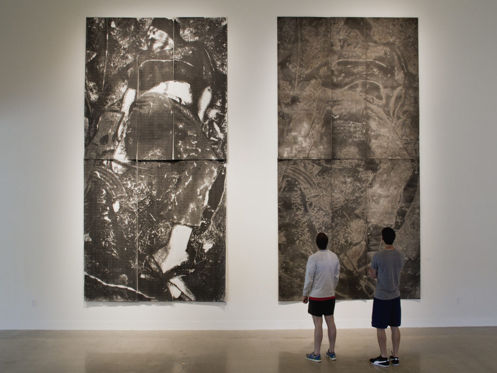 cuerno de chivo - hand drilled paper with layered Xerox and drywall dust - 192 x 96 in. (each piece)