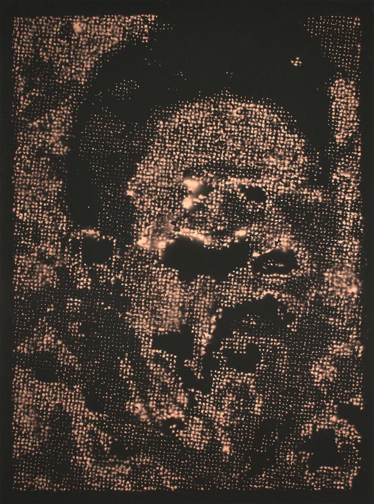 Retrato 02 (cobre) - metallic copper enamel on paper 48 1/2 x 36 in.