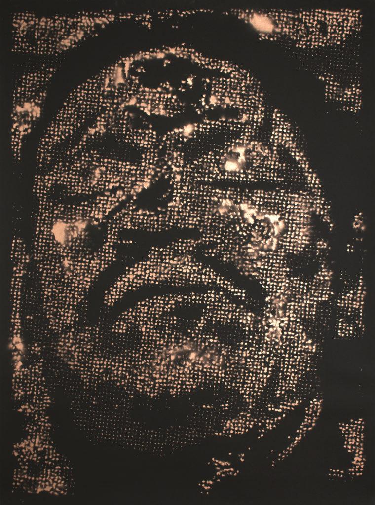 Retrato 03 (cobre) - metallic copper enamel on paper 48 1/2 x 36 in.