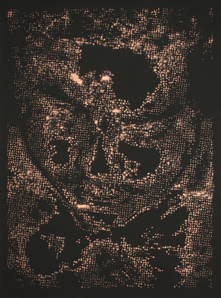 Retrato 05 (cobre) - metallic copper enamel on paper 48 1/2 x 36 in.