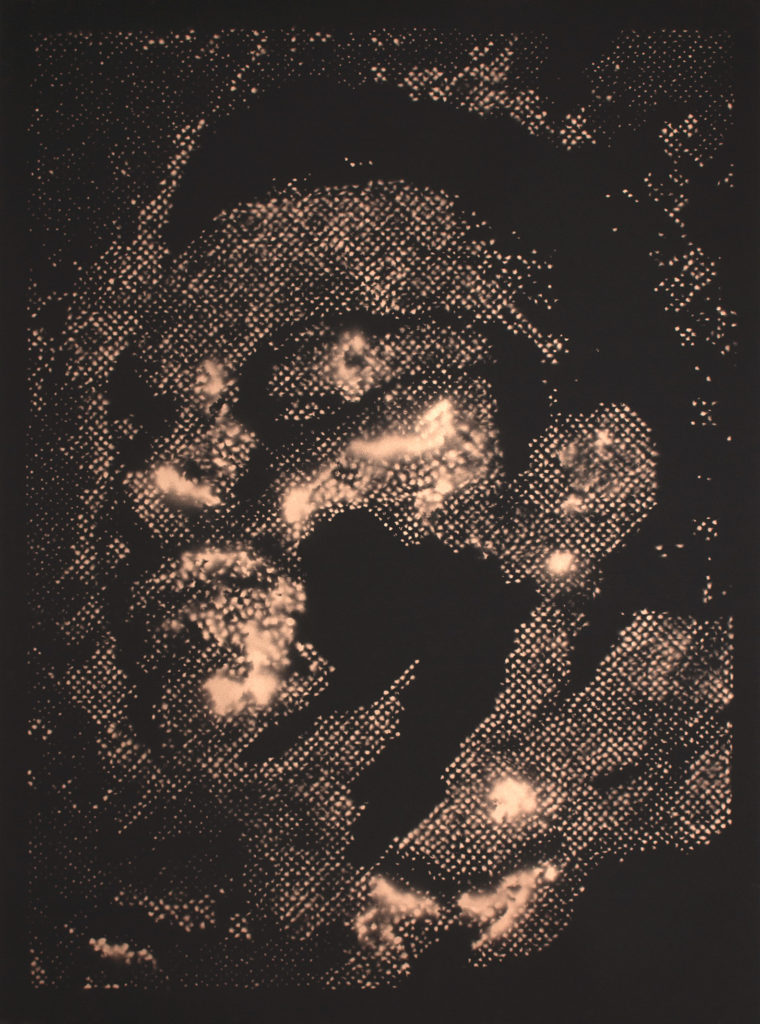 Retrato 07 (cobre) - metallic copper enamel on paper 48 1/2 x 36 in.
