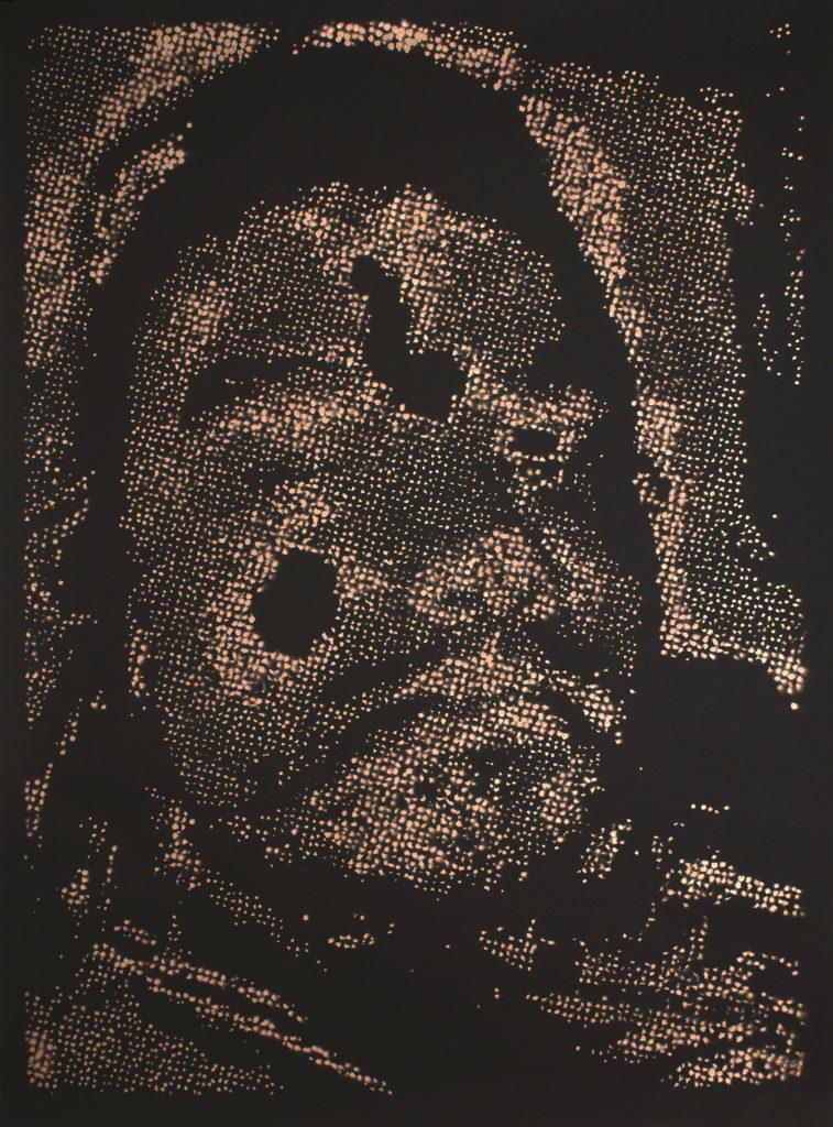 Retrato 12 (cobre) - metallic copper enamel on paper 48 1/2 x 36 in.
