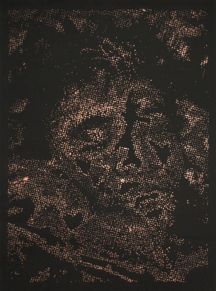 Retrato 13 (cobre) - metallic copper enamel on paper 48 1/2 x 36 in.