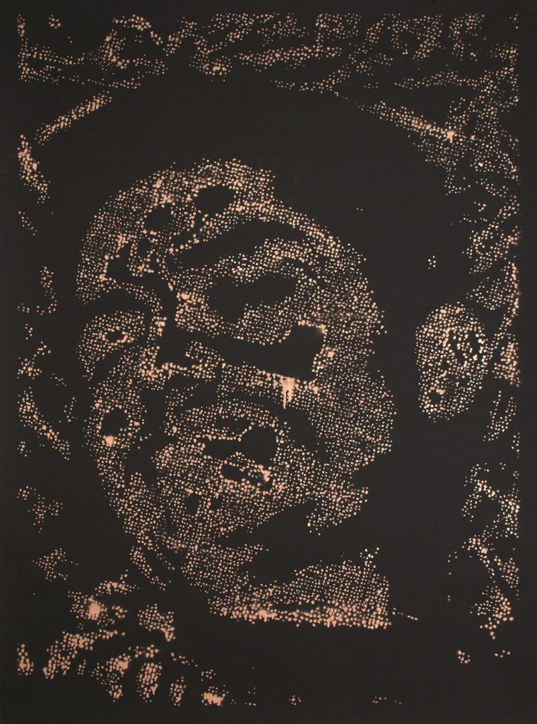 Retrato 14 (cobre) - metallic copper enamel on paper 48 1/2 x 36 in.