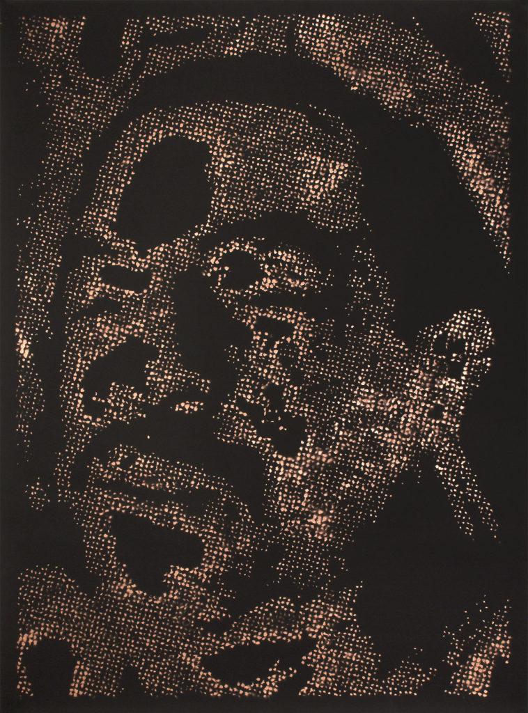 Retrato 15 (cobre) - metallic copper enamel on paper 48 1/2 x 36 in.