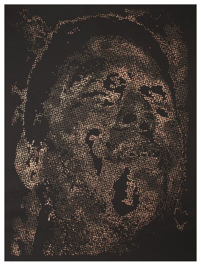 Retrato 24 (cobre) - metallic copper enamel on paper 48 1/2 x 36 in.